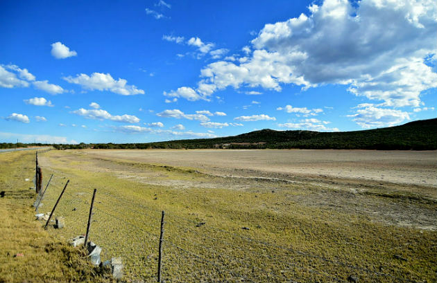 A farm dam outside Uitenhage is bone dry