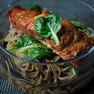 Hot Smoked Salmon, Soba and Asian Greens Salad.