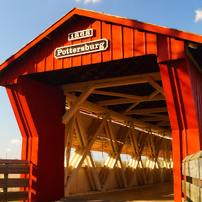 by Beth Collins - Buildings & Architecture Bridges & Suspended Structures ( north lewisburg, blue sky, ohio, covered bridge, bridge, pottersburg covered bridge, north lewisburg bridge,  )