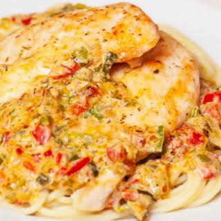 Chicken Linguine With Red Pepper Zucchini Cream Sauce.