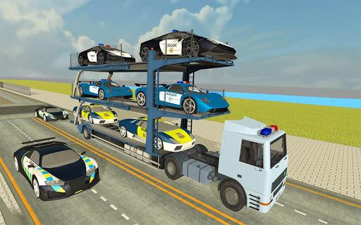City Police Car Transporter Truck: Trailer Driving apktram screenshots 1