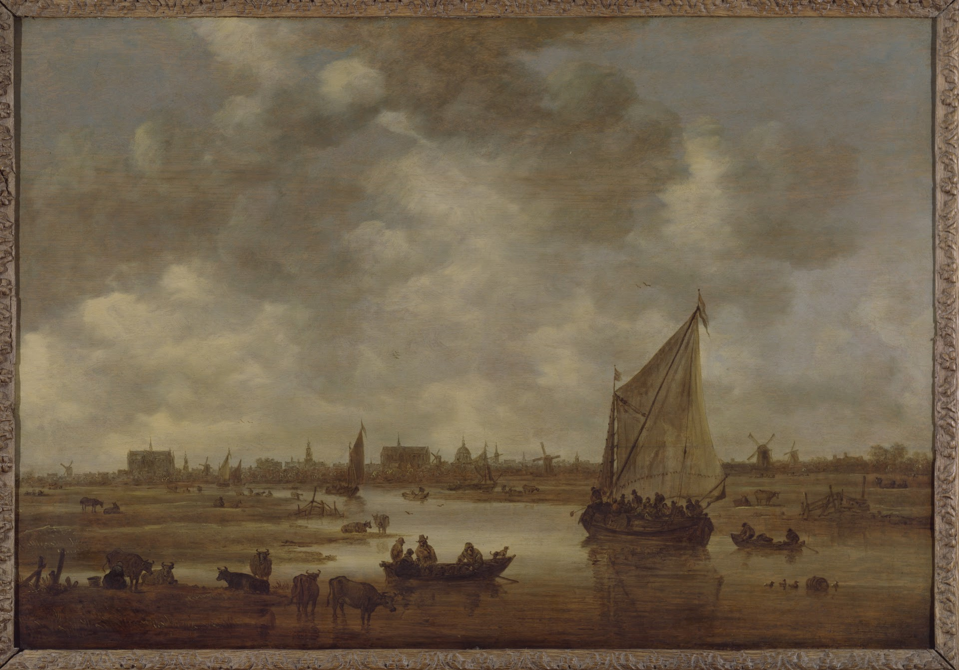 Gezicht op Leiden uit het noordoosten, 1650