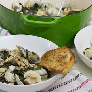 Clams Steamed with Kale and White Beans.