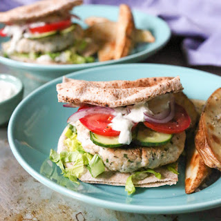 Grilled Turkey Kofta Burgers with Harissa Yogurt Sauce