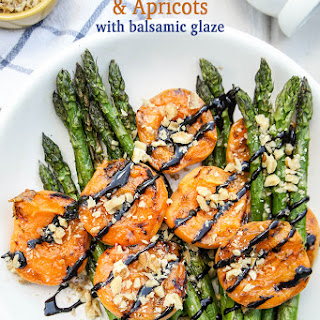 Grilled Asparagus and Apricots with Balsamic Glaze.
