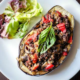 Balsamic Chicken Stuffed Eggplant.
