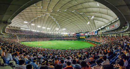 Photo: Take Me Out To The Ball Game  Went to my first Japanese baseball game this weekend with my oldest daughter and some friends, and we had a blast! As someone who loves baseball anyway, it was really interesting to see the differences between a game in the U.S. and a game here in Japan. This is a 4 photo panorama taken w/ my D7000 and a Tokina 11-16mm, stitched together in Photoshop CC.  Some thoughts on the game and more photos at my blog: http://lestaylorphoto.com/a-yomiuri-giants-game-at-tokyo-dome/  #japan #travel #panorama #yomiurigiants #baseball  #cooljapan