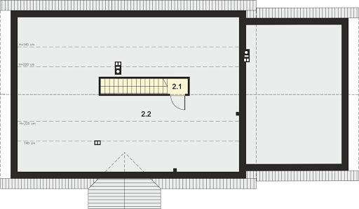 Tamara 2 - Rzut strychu (do aranżacji) 46,15 m2 (111,74 m2)