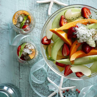 Champagne Fruit Salad with Mint Lime Granita.