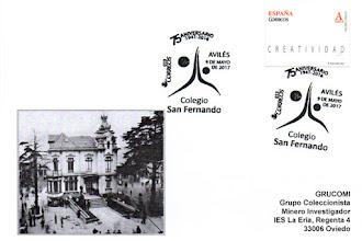Photo: Tarjeta con matasellos del 75 aniversario del Colegio San Fernando de Avilés