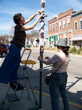 Photo: Susan and nancy decorating the pole april 2nd 2010