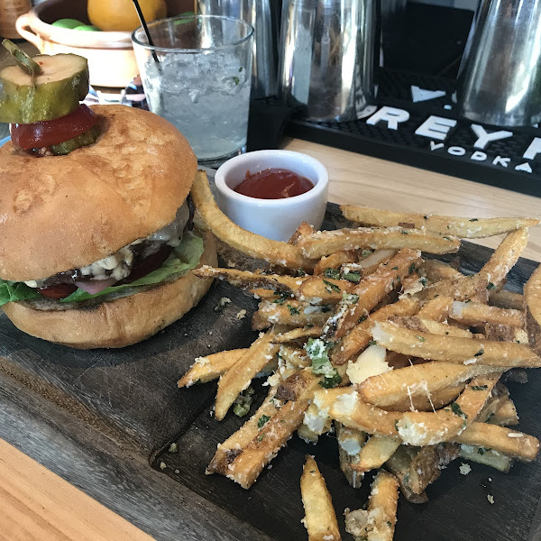 GF OMG burger and truffle fries. Very good!