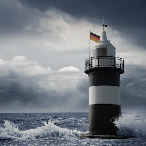 Stormy Lighthouse by Anika McFarland - Buildings & Architecture Other Exteriors ( lighthouse, stormy, ocean, stormy ocean, sea )