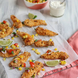CRISPY BAKED MEXICAN CHICKEN TENDERS.