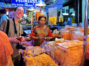 Photo: Amber buying dried shrimp at Hua Hin market