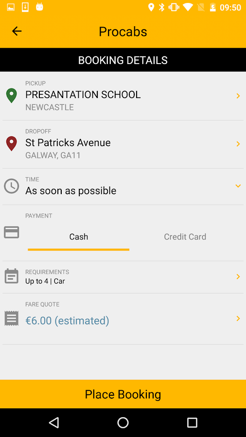 Procabs- screenshot