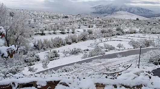 Dos comarcas de Almería, en aviso naranja por nieve este jueves