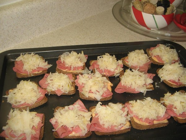 Cover each with sauerkraut(about 1 Tablespoon each)