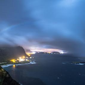 Lunar Rainbow by Jace LeRoy - City,  Street & Park  Vistas ( moon, lunar, rainbow, oahu, hawaii, lunar rainbow, island )