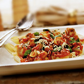 Pasta Bolognese met spinazie en champignons