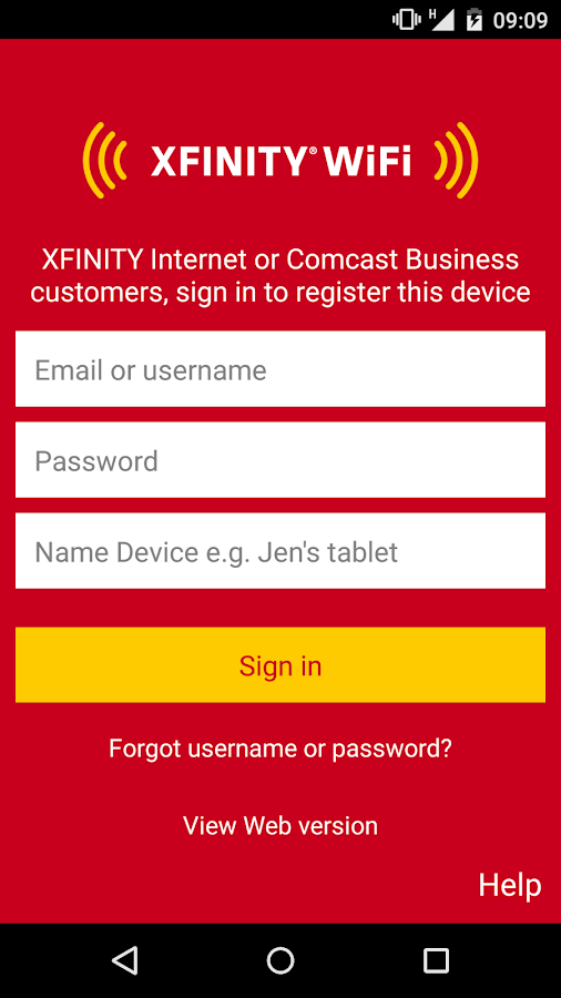 XFINITY WiFi- screenshot