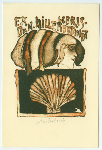 051. Bookplate. Dr. N. HILLERBRANDT. Girl´s face above a shell.