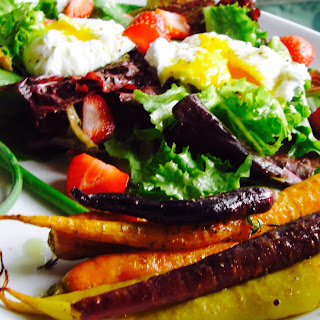 Garden Poached Egg Salad with Garlic Scape Dressing