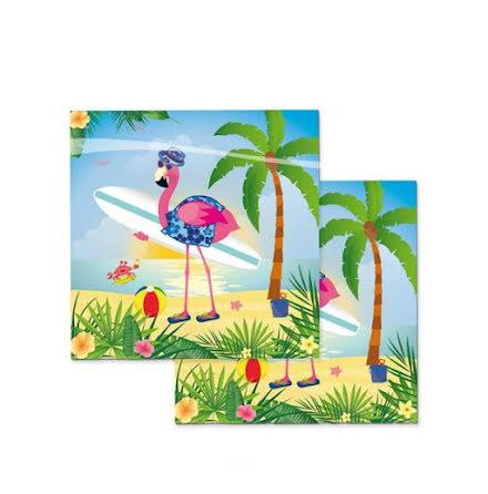 Servetter, flamingo 20st