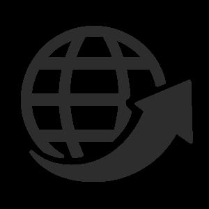 Icon Weltkugel mit Pfeil