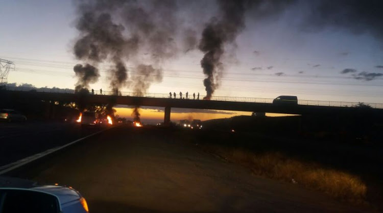 Protesters have blocked the N14 highway approaching the R55 in Centurion