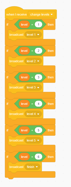 Scratch coding blocks with conditionals for game levels