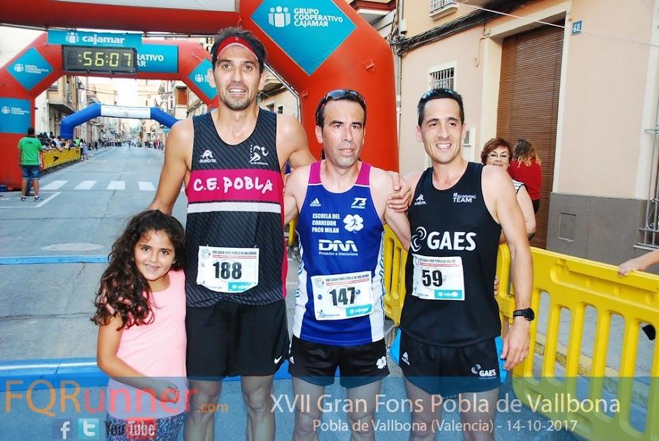 Tres primeros clasificados XVII Gran Fons Pobla de Vallbona 2017