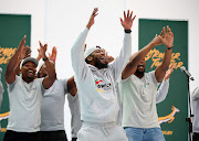 Gwijo Squad members sing during a Springbok squad announcement in Johannesburg in August 2019.