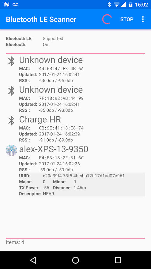 Bluetooth LE Scanner- screenshot