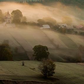 waiting for sunrise by Sorin Tanase - Landscapes Prairies, Meadows & Fields ( hills, nature, fog, romania, sunrise, landscape )