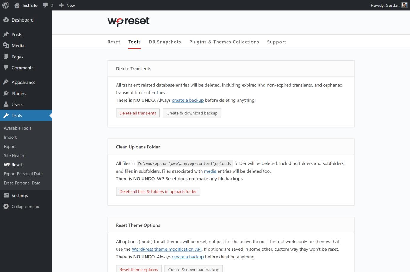 wpreset tools