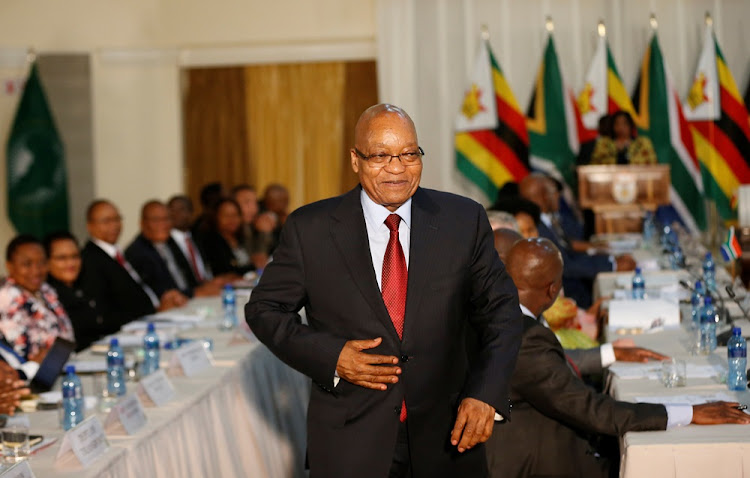 President Jacob Zuma walks during the second session of the South Africa-Zimbabwe Bi-National Commission in the capital, Pretoria,South Africa, October 3, 2017.