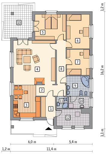 Dom bezpieczny - C296 - Rzut parteru