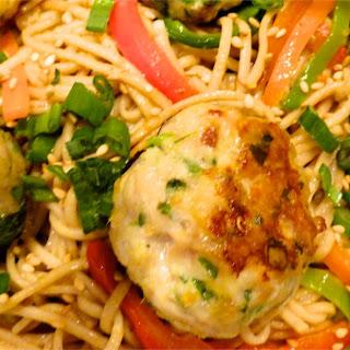 Ginger Pork Meatballs on Soba Noodles with Peanut Sauce