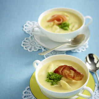 Cream of Asparagus Soup with Pea Pesto