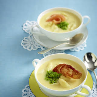 Cream of Asparagus Soup with Pea Pesto.
