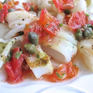 Sauteed Calamari with Tomato Caper Salsa.