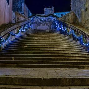 Uz Jezuite by Miho Kulušić - Buildings & Architecture Public & Historical ( stairs, dubrovnik, holidays, night,  )