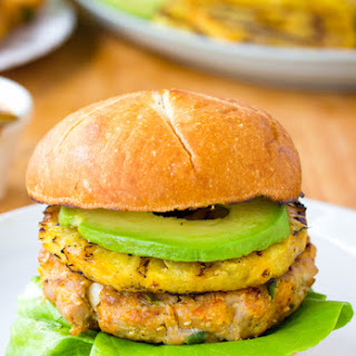 Ahi Tuna Burgers with Grilled Pineapple.