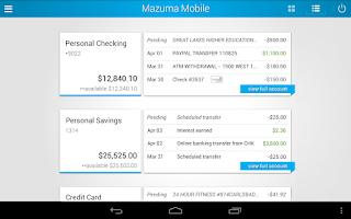 Screenshot of Mazuma Mobile Banking