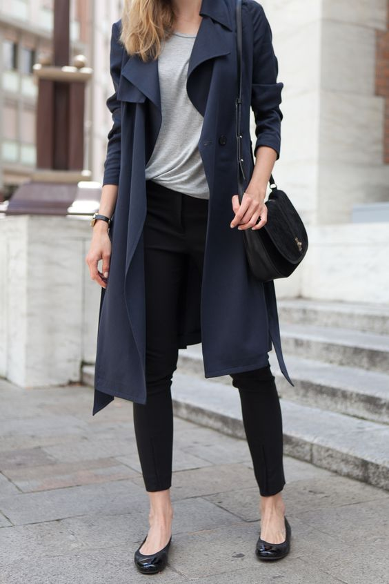 Casual look with navy coat, gray top and black jeans for Deep Winter women