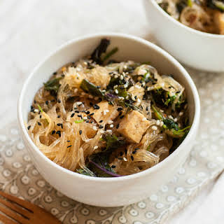 Asian Glass Noodles with Tofu & Wild Greens.
