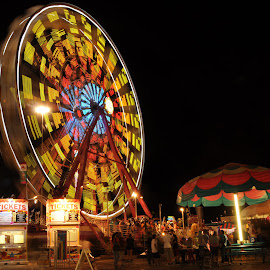 Night Carnival by Eva Ryan - Artistic Objects Other Objects ( state fair, ticket, ferris wheel, night, carnival, ride,  )