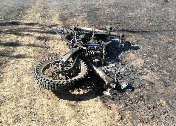 Remains of the burnt-out motorcycle