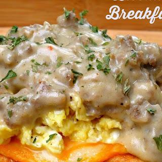 Biscuit Waffle Breakfast Stack.